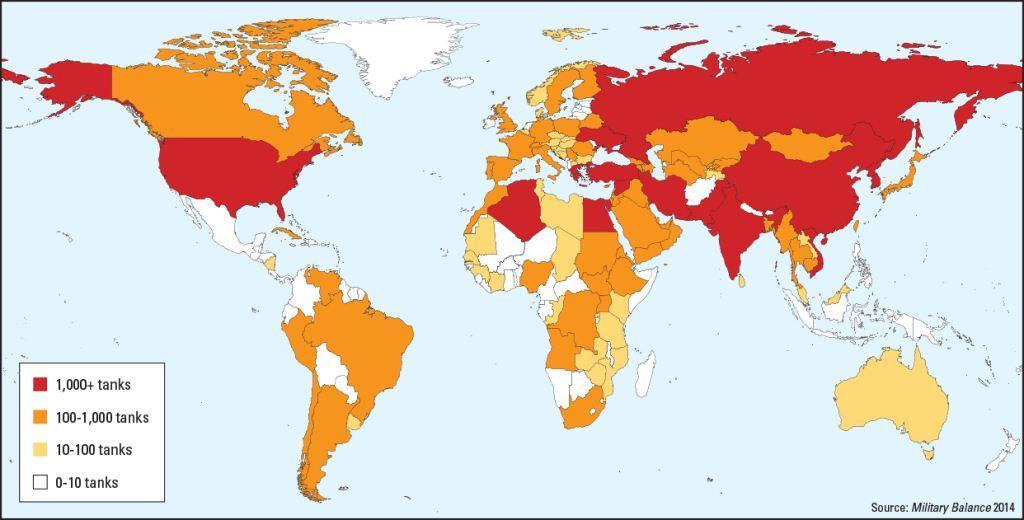 Peta kekuatan tank dunia