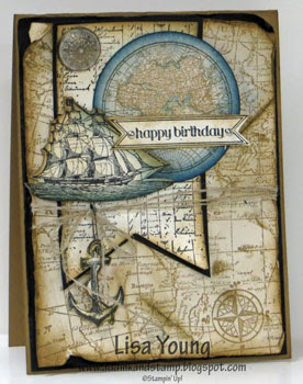 Stampin' Up! The Open Sea stamp set. Vintage card with map and ship. Masculine card. Handmade card by Lisa young, Add Ink and Stamp