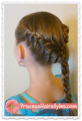 Diagonal French Braid With Braided Rose