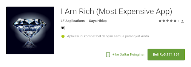 aplikasi android termahal di Play Store I Am Rich