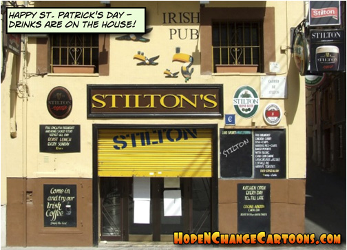 saint patrick's day, hope and change, stilton jarlsberg, irish pub
