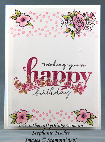 #thecraftythinker, #stampinup, #cardmaking, #sneakpeek, SaleAbration 2018 Occasions Catalogue sneak peek, Lots of Happy, Petal Palette, Happy Wishes, Stampin' Up Australia Demonstrator, Stephanie Fischer, Sydney NSW