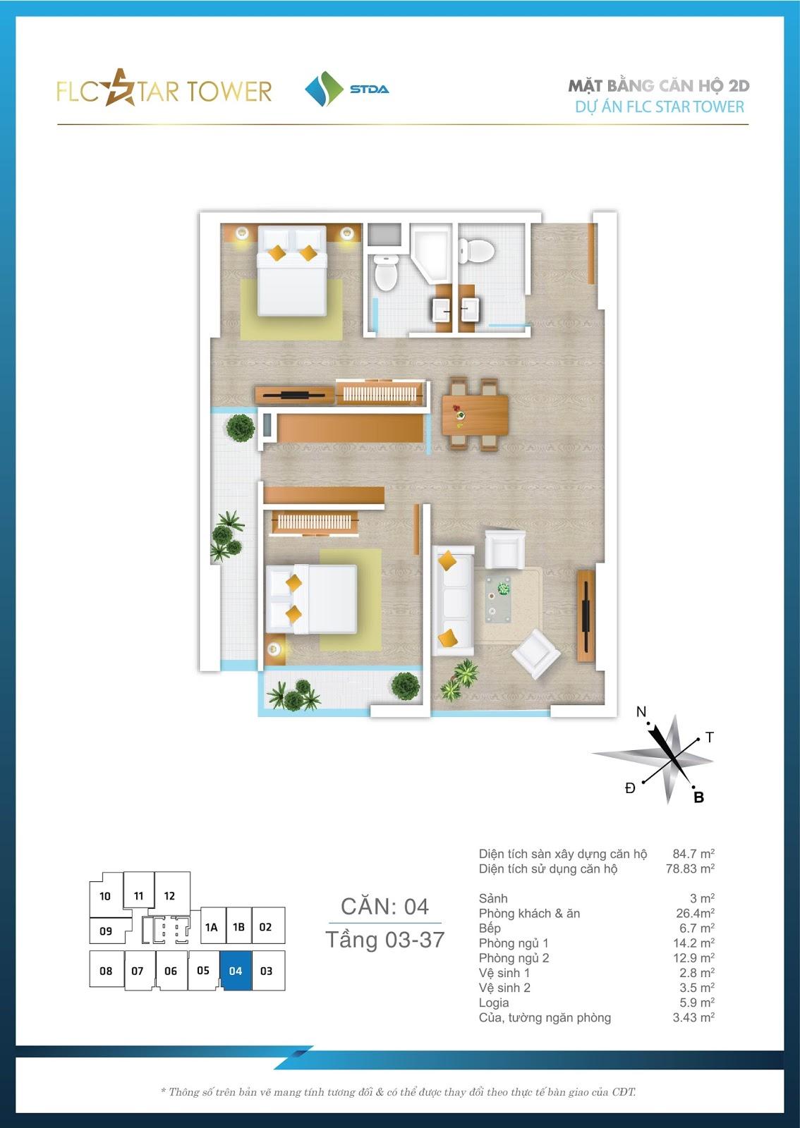 Thiết kế căn hộ 04 - Chung cư FLC Star Tower Hà Đông