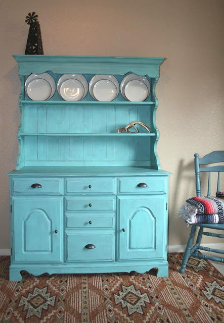 painted blue hutch