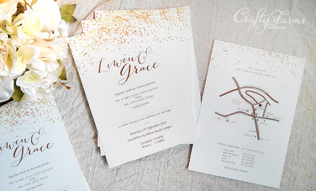 Gold Glitter Confetti Wedding Invitation Card Printing