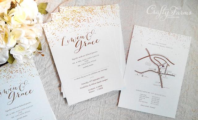 Gold Glitter Confetti Wedding Invitation Card Printing
