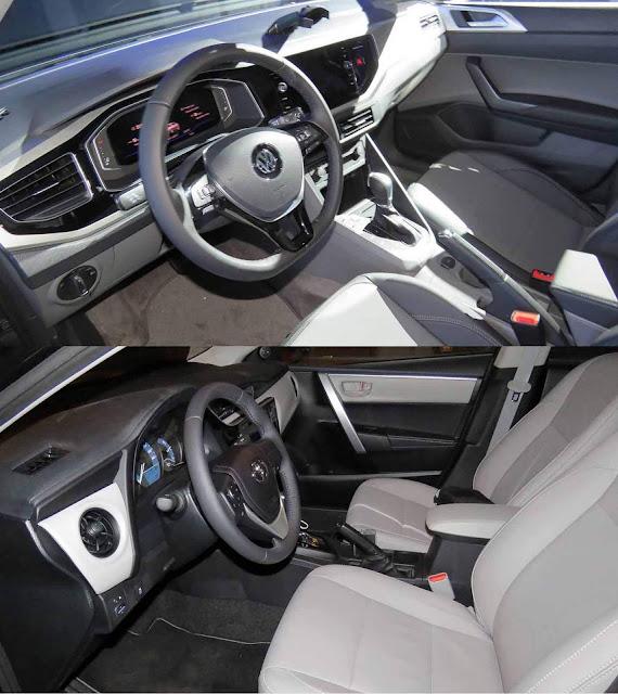 Toyota Corolla x Volkswagen Virtus - espaço dianteiro
