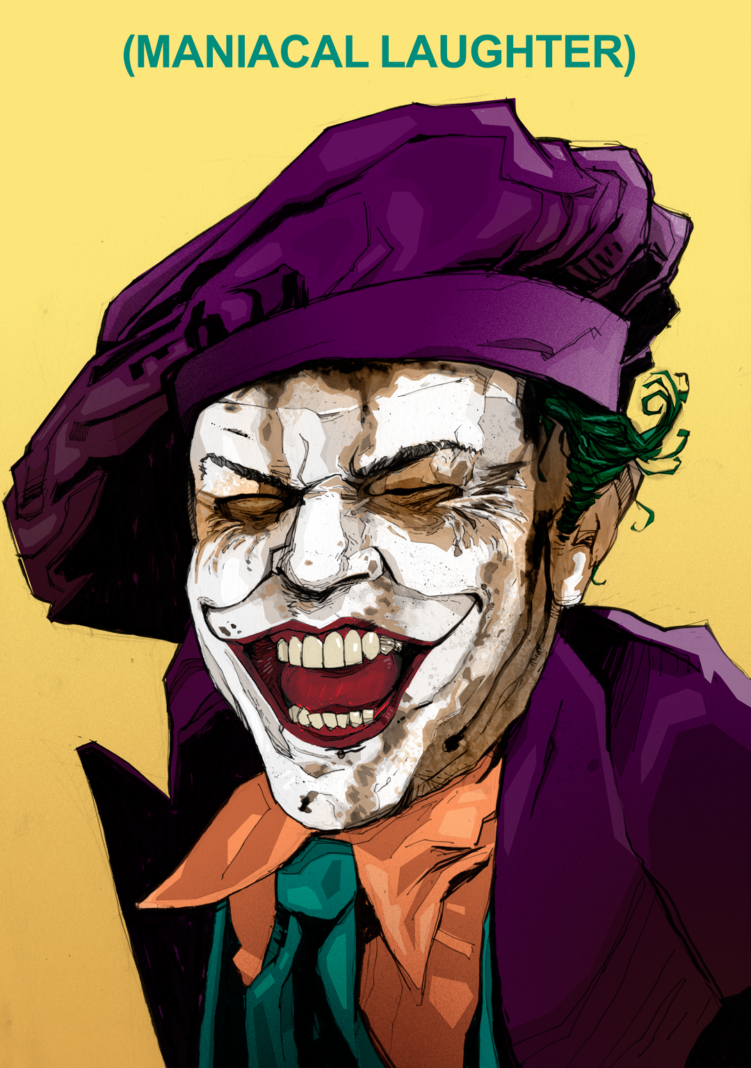Jack Nicholson Joker wet face drawing Batman