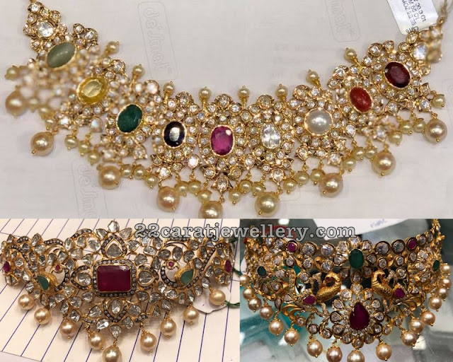 Pachi Work Choker with Precious Gemstones