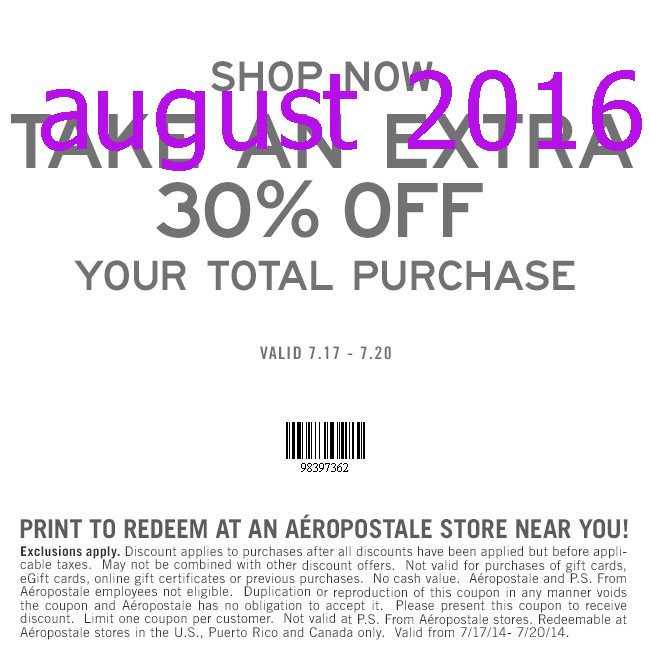 Aeropostale free shipping coupons august 2018