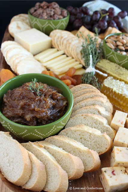 The Perfect Cheddar Cheese Board with Balsamic Onion Jam by LoveandConfections.com #BrunchWeek