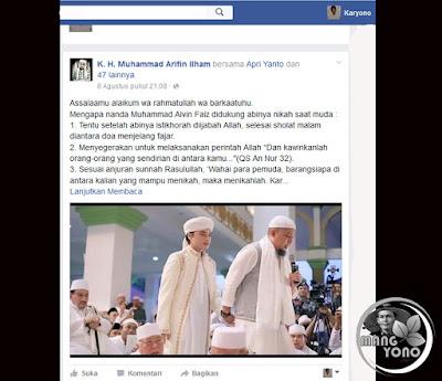 """Alasan mengapa K. H. Muhammad Arifin Ilham mendukung M Alvin Faiz nikah saat muda"""""""