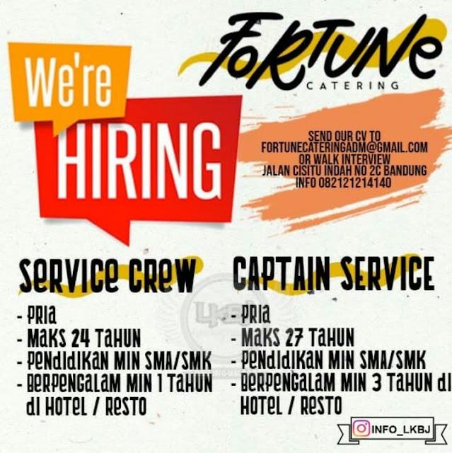lowongan kerja service crew fortune catring bandung