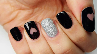 Black and heart model latest nail art collections 2016 - quillingpaperdesigns