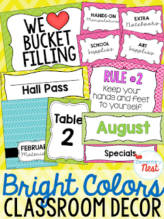 Bright Color Scheme- Classroom Decor Collection to transform your classroom- pick a scheme or a theme to make your classroom decorated and organized