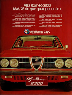propaganda Alfa Romeo 2300 - 1975,  anos 70.  brazilian advertising cars in the 70. história da década de 70; Brazil in the 70s; propaganda carros anos 70; Oswaldo Hernandez;