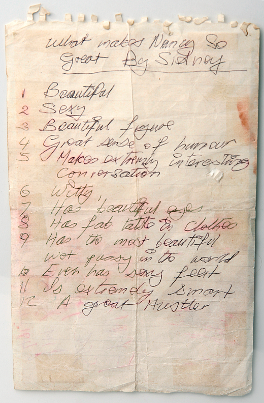 Sid Vicious hand-written list about Nancy Spungen. PunkMetalRap.com