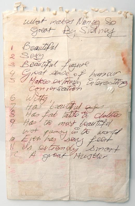 Sid Vicious hand-written list about Nancy Spungen. PunkMetalRap.com