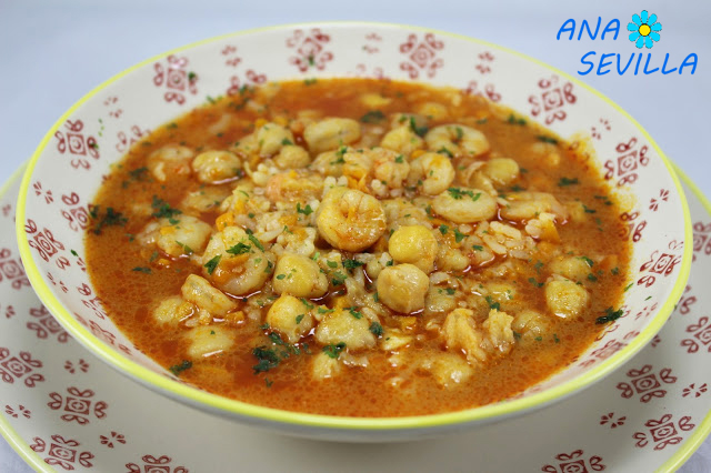 Garbanzos con gambas y arroz olla GM