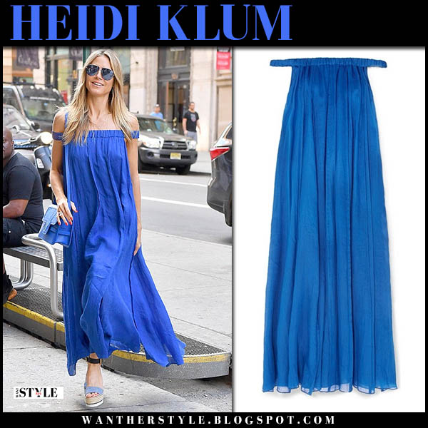 Heidi Klum in blue off shoulder maxi dress chic summer style july 20