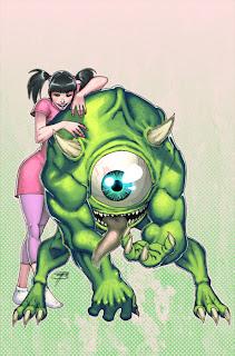 Boo e Mike de Monstros SA em uma versão melhorada anime e manga