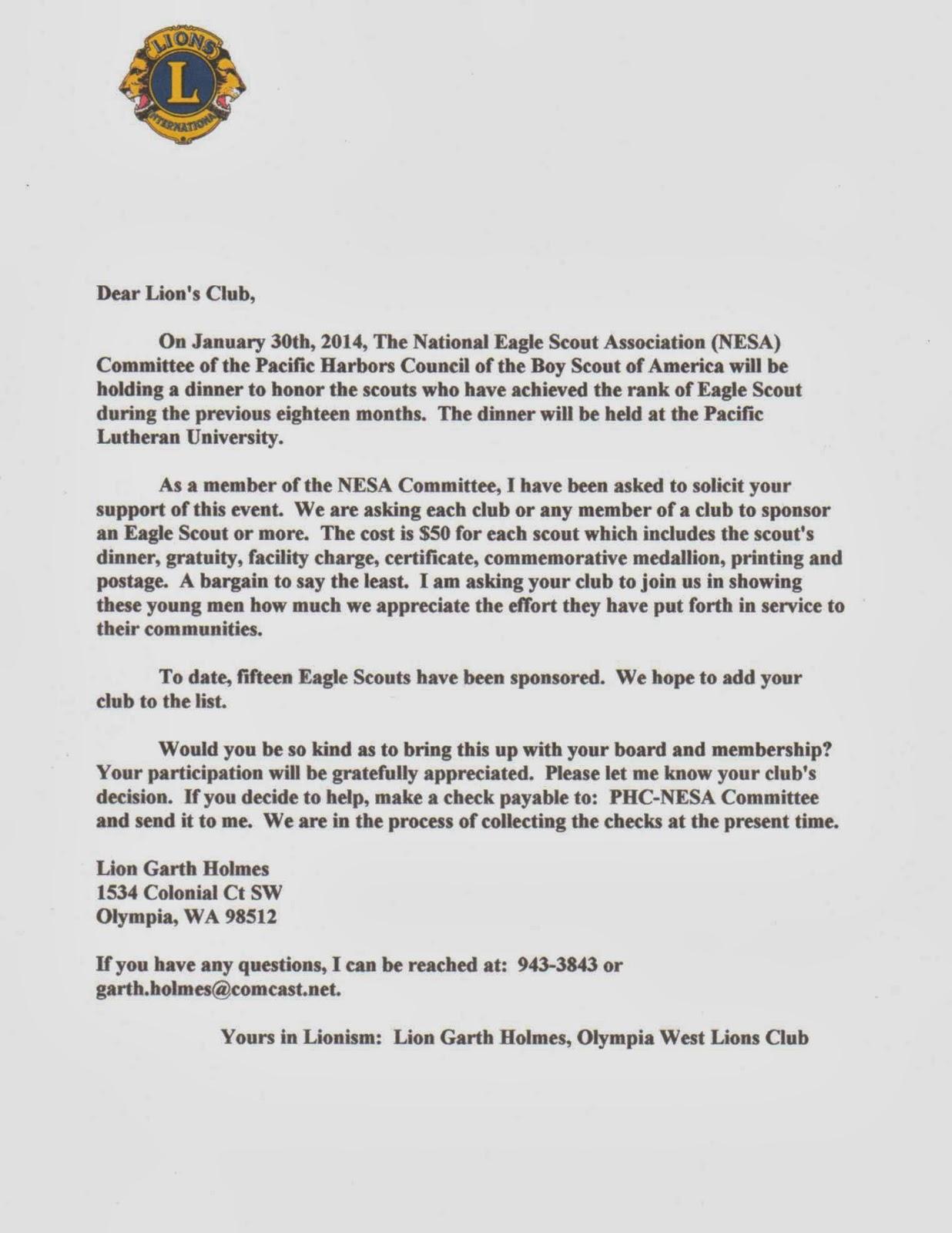 Rainier Lions Club Eagle Scout Sponsor Letter