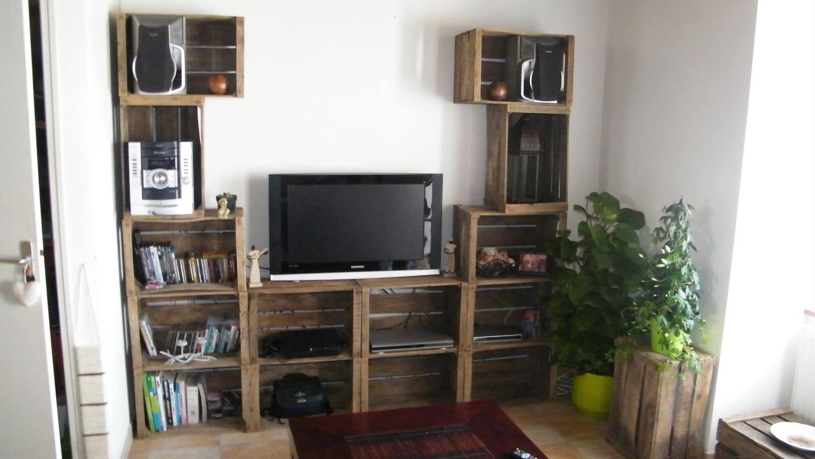 4 muebles para la tv con cajas de fruta - Como hacer un mueble de salon ...