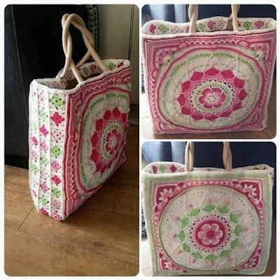 Bolsas de Yute decoradas con mandalas en crochet