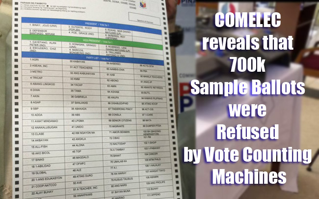 COMELEC reveals that 700k Sample Ballots were Refused by Vote Counting Machines