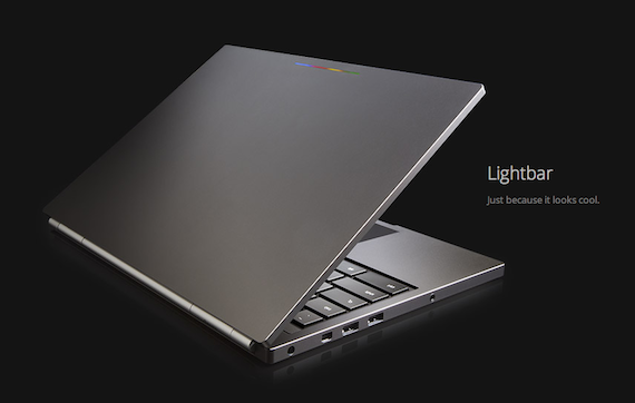 Chromebook pixel Piano Hinge, Sleek Exterior with Chrome Logo Lightbar