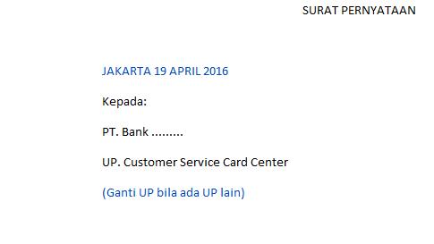 Surat Pernyataan Pergantian Kartu Kredit Kartu Bank