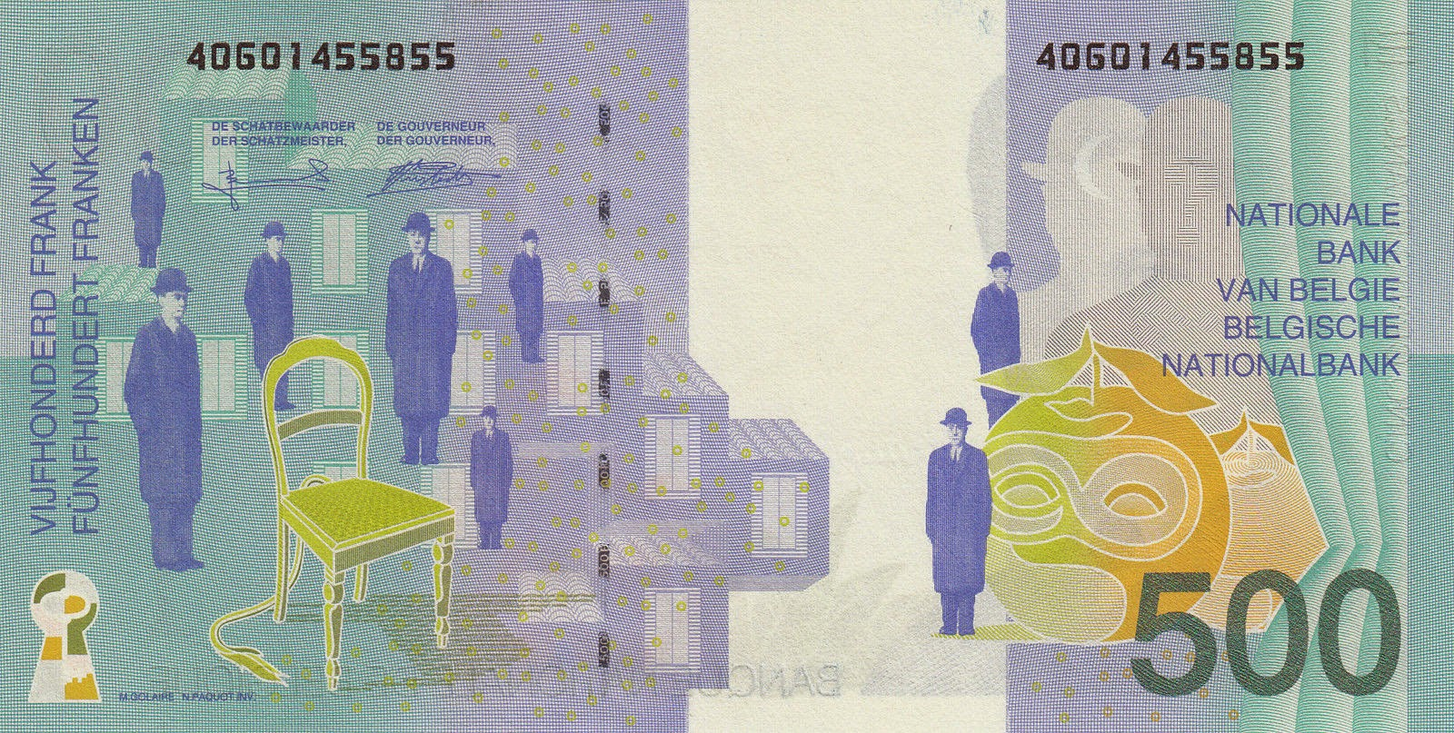 Belgium Money Currency 500 Belgian Francs banknote 1998 Rene Magritte Paintings