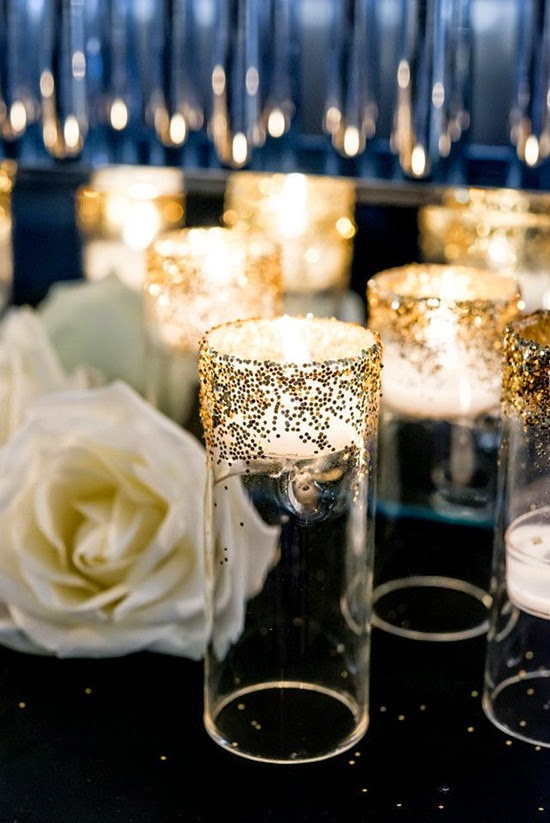 wine bottle Glitter centerpieces wedding inspiration