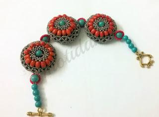 bead netting, coral bracelet