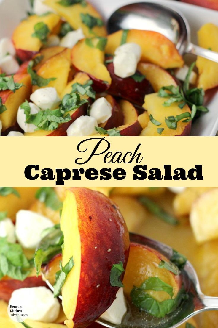 Peach Caprese Salad | by Renee's Kitchen Adventures - easy recipe for a twist on the classic caprese salad subbing tomatoes for fresh peaches and dressed in a lime vinaigrette.  DELICIOUS! #rkarecipes