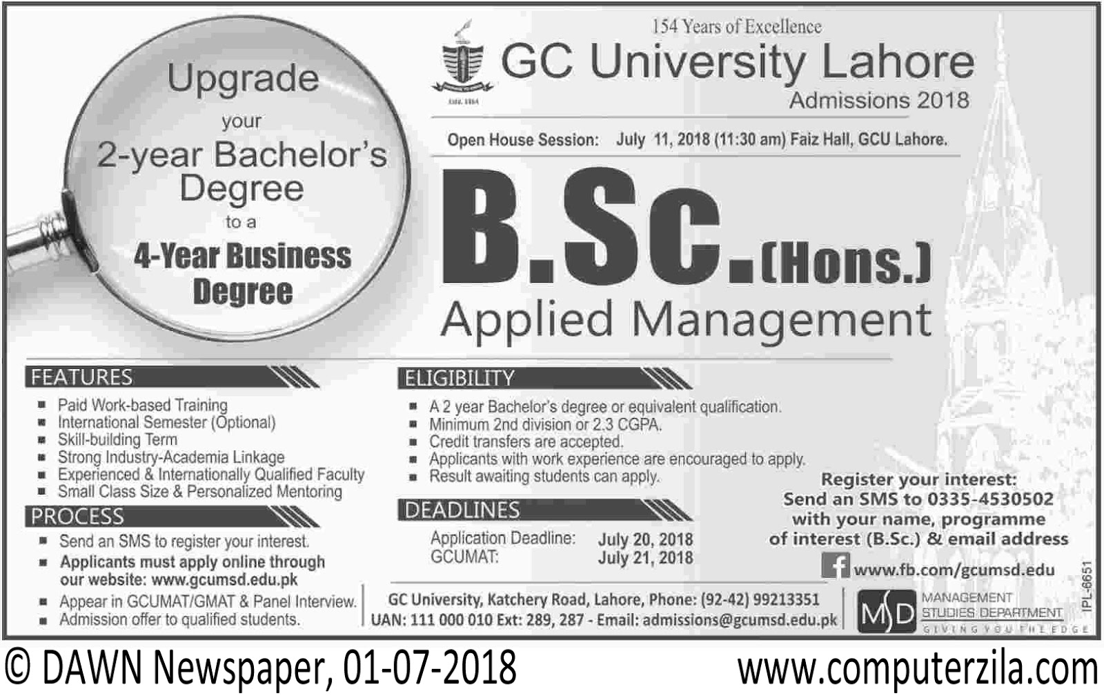 Government College University Admissions Fall 2018