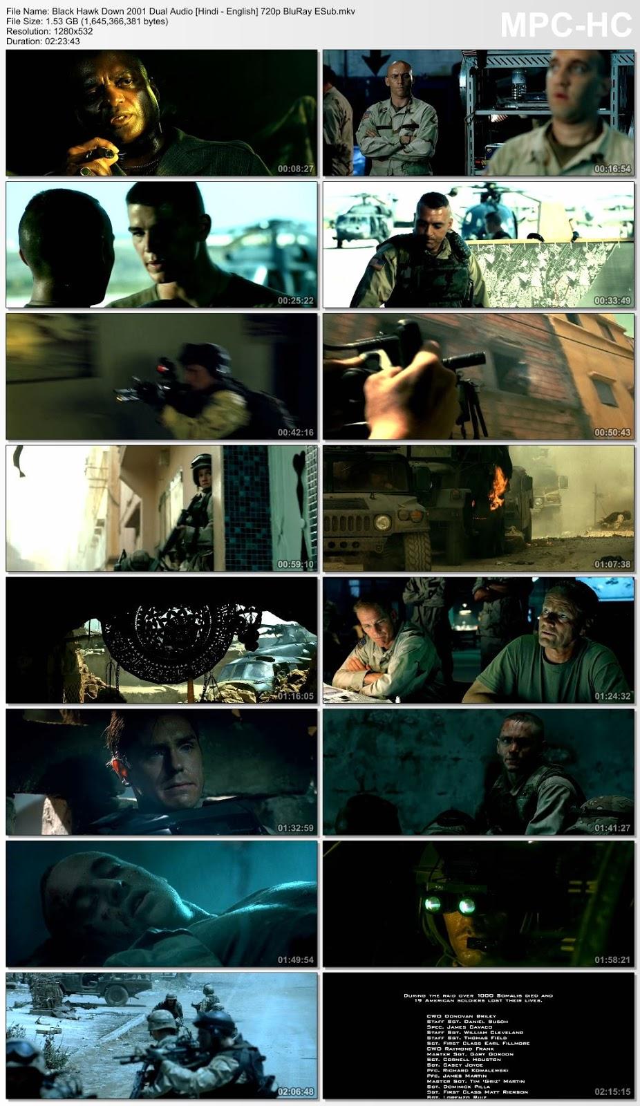 Black Hawk Down 2001 Dual Audio [Hindi – English] 720p BluRay ESub 1.5GB Desirehub