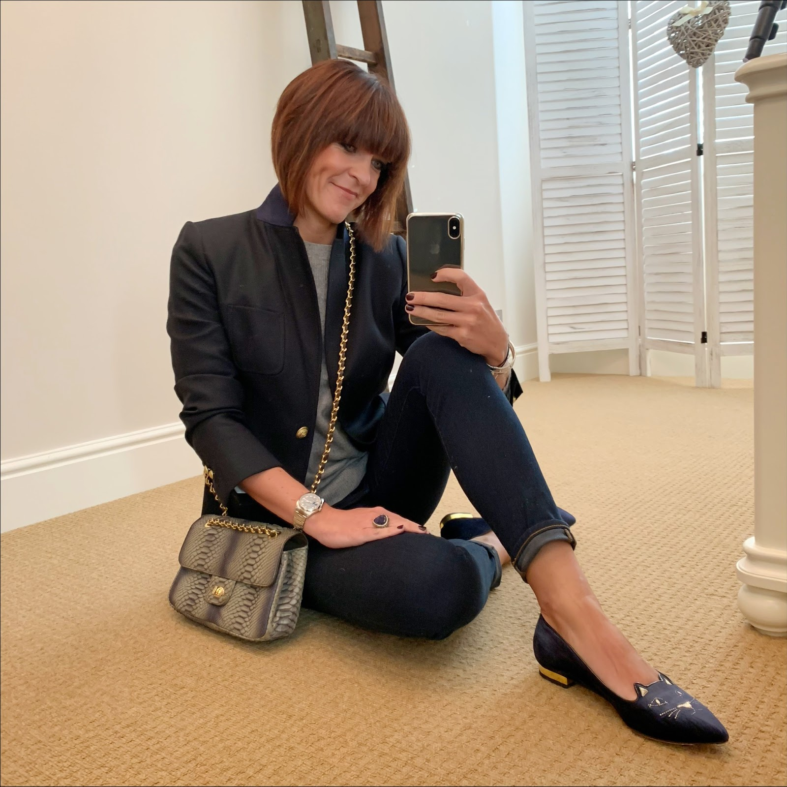 my midlife fashion, j crew regent blazer, h and m cashmere crew neck jumper, j crew 8 inch toothpick skinny jeans, vintage cross body bag, charlotte olympia kitty flat shoes