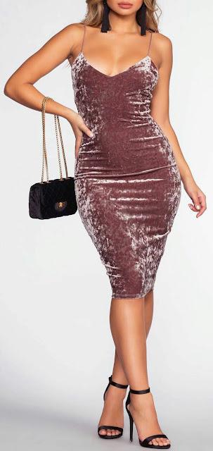 Velvet Bodycon Party Dress