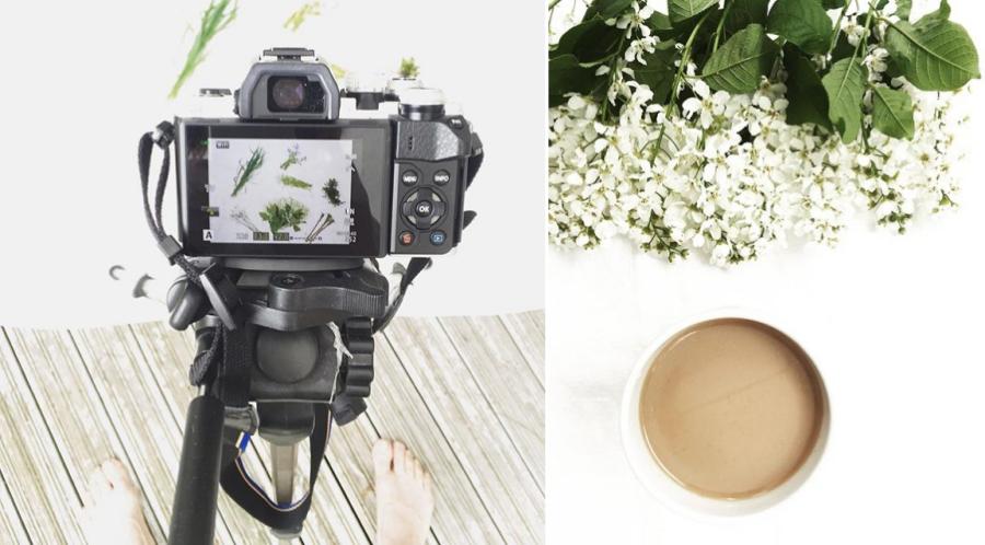 Kuvaussessio ja kukat