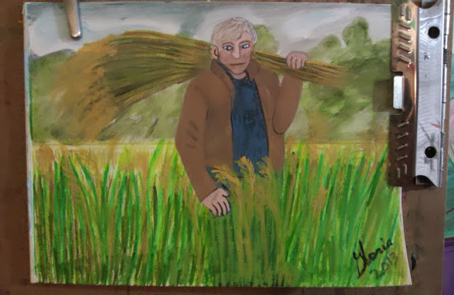"""Amber waves of grain"" sketch by Gloria Poole; Nov 2013"