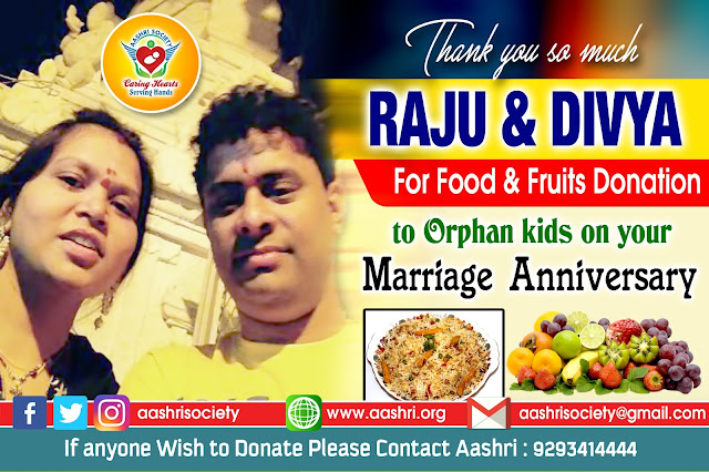 aashri society food and fruits donation to orphan kids with divya garu