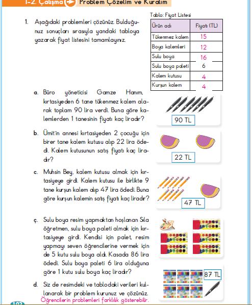 3. Sınıf Berkay Yayınları Matematik Çalışma Kitabı 102. Sayfa Cevapları 1.2 Çalışma Problem Çözelim ve Kuralım