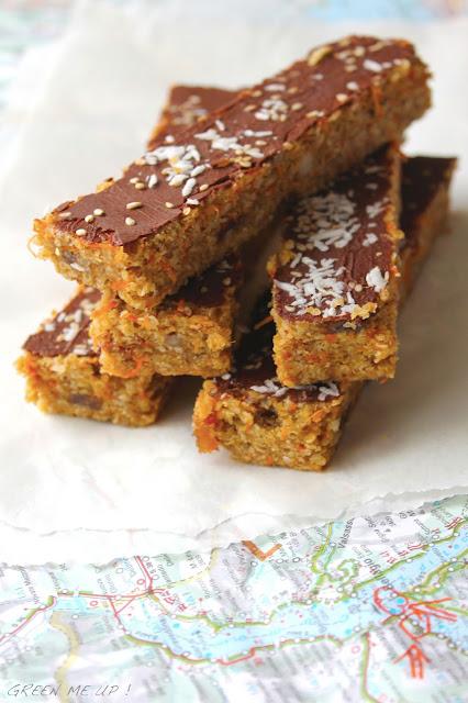 Barres sans cuisson quinoa carottes tahin amandes