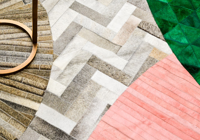 Pink, Emerald Green and Neutral Hide Rugs by Art Hide at Decorex during London Design Festival 2016 #LDF16
