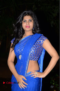 Actress Alekhya Pictures in Blue Saree at Happy Birthday Audio Launch  0043.JPG