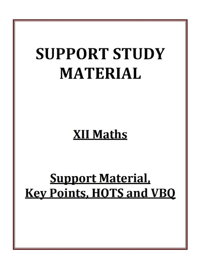 SUPPORT STUDY MATERIAL CLASS 12 MATHS