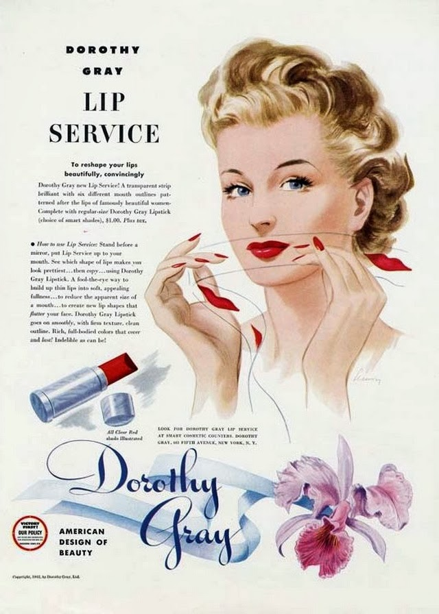 Dorothy Gray Lip Service 1940s makeup advertisement
