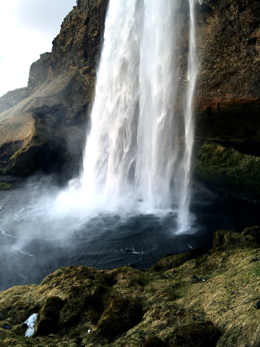 Seljalandsfoss waterfall, iceland waterfalls, south iceland waterfalls, walking behind the waterfall,