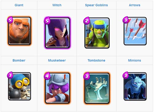 Menggunakan Giant dan Witch Card untuk kartu deck arena 2